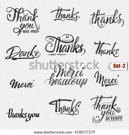 Thank you, merci beaucoup, danke- typographic calligraphic lettering - stock photo