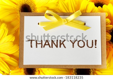 Thank you message card with yellow gerberas - stock photo