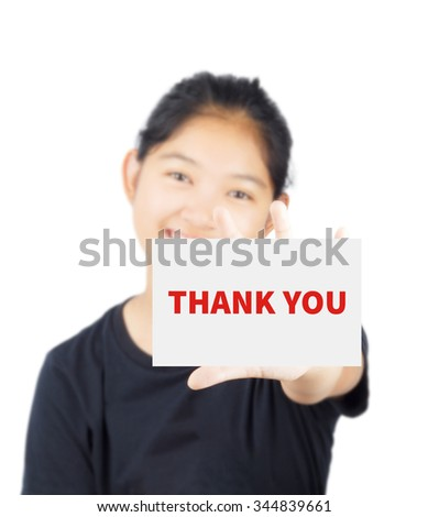 THANK YOU, message on card show by Asian girl - stock photo