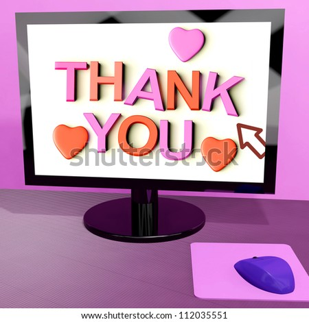 Thank You Message On Computer Screen Shows Online Appreciation