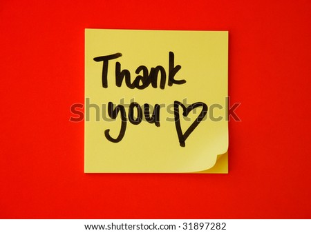 thank you message with heart drawing - stock photo