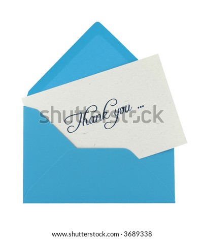 thank you note in a blue envelope isolated on white - stock photo