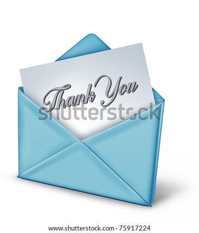 Thank you note in a blue envelope representing gratitude and appreciation for a friendly act from family and great helpful long time friends. - stock photo