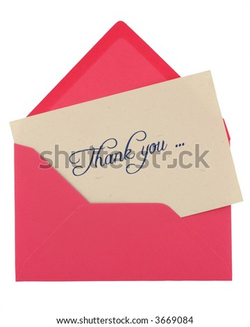 thank you note in a pink envelope isolated on white - stock photo