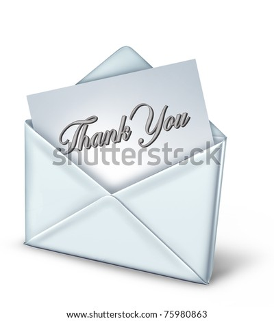 Thank you note in a white envelope representing gratitude and appreciation. - stock photo