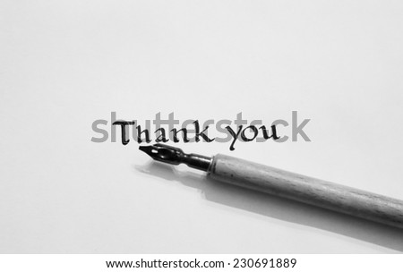 Thank you note in white and black - stock photo