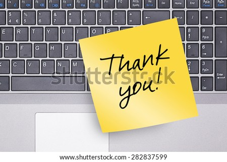 Thank You Note on Keyboard Concept Photo - stock photo