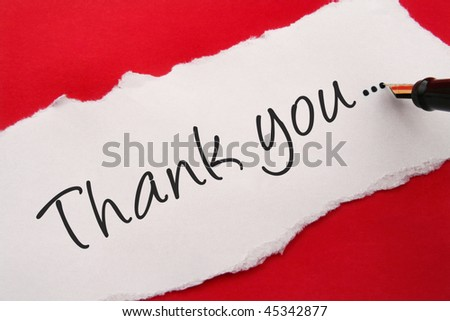 thank you note on red background - stock photo