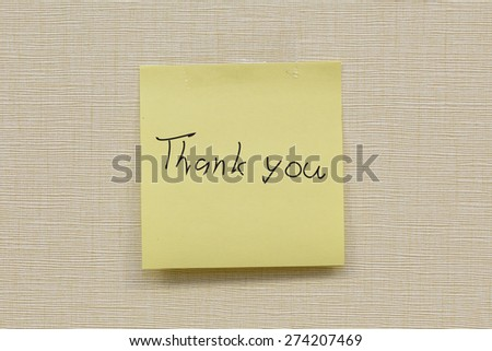 thank you note on the wall - stock photo