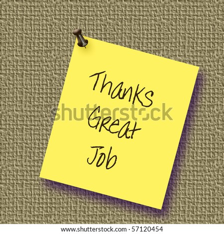 thank you note thumb-tacked on bulletin board illustration - stock photo