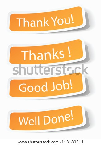 Thank you notes as stickers with shadow effects, vector illustrations in eps10. - stock photo