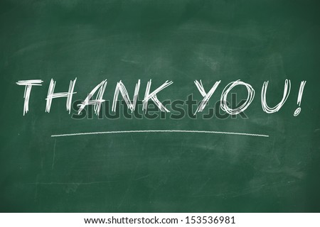 Thank you on chalkboard - stock photo