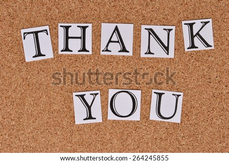 Thank You on cork-board - stock photo