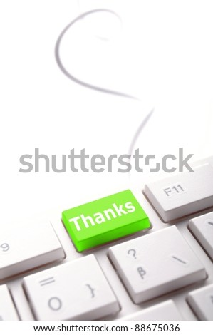 thank you or thanks concept with key on keyboard - stock photo
