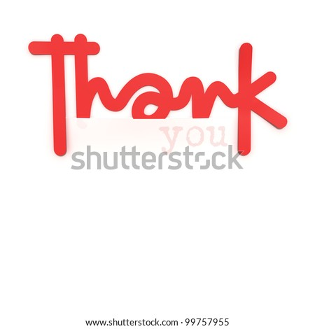 Thank you, paper design element, High-resolution 3d rendering - stock photo
