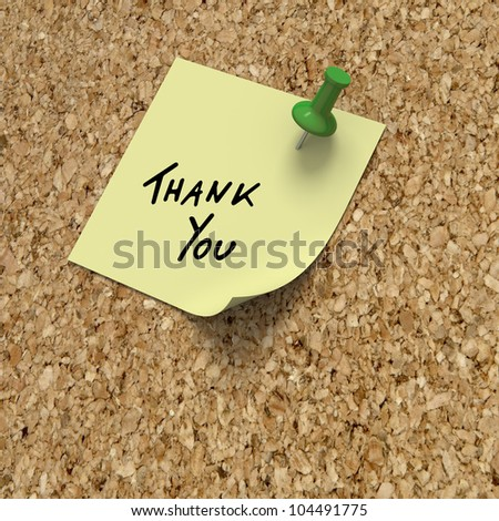 Thank you post-it note with green pushpin on cork board - stock photo