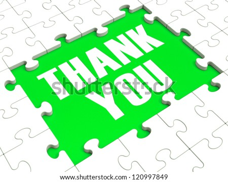 Thank You Puzzle Showing Thankfulness And Appreciation - stock photo