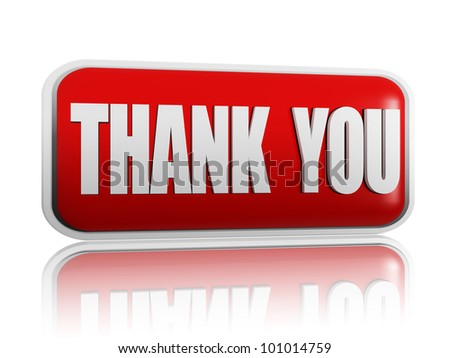Thank you red banner with white letters - stock photo