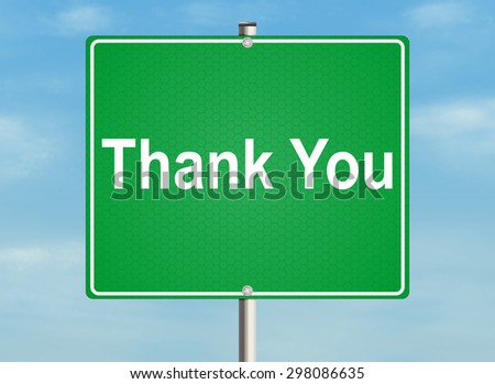 Thank you. Road sign on the sky background. Raster illustration. - stock photo