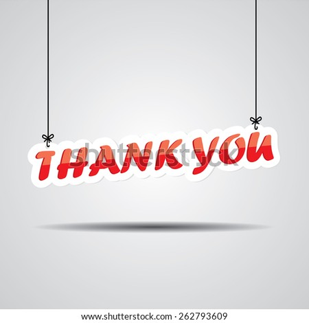 Thank you  Sign Hanging On Gray Background - stock photo