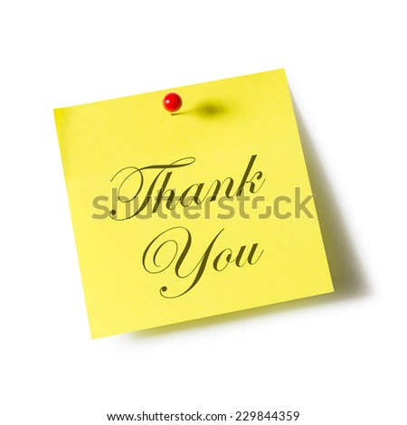 Thank you sign on note paper over white background