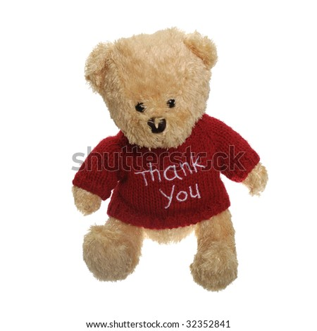 Thank you teddy bear isolated on white background. - stock photo