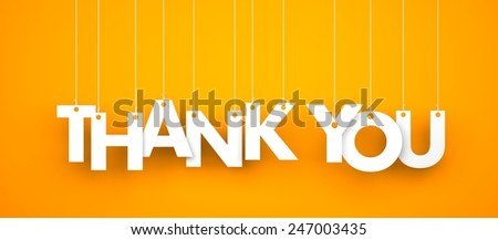 Thank you. Text hanging on the rope - stock photo