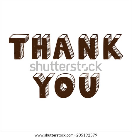Thank you text isolated on white. - stock photo