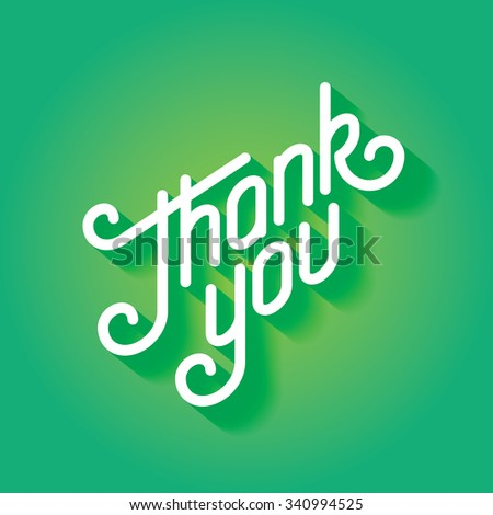 Thank you text lettering card - stock photo