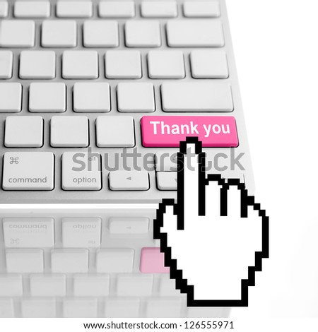 Thank you text on a computer keyboard - stock photo