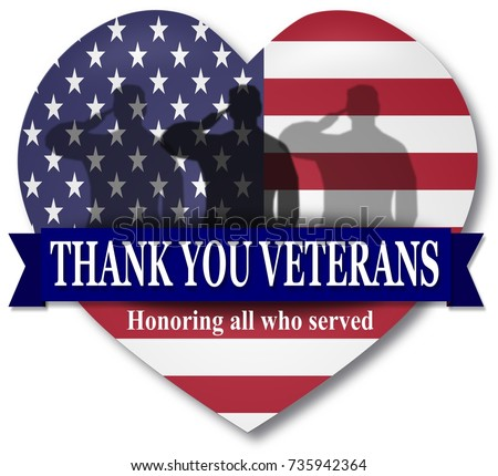 Thank YOU Veterans Day Illustration Banner Heart With USA Flag And Ribbon