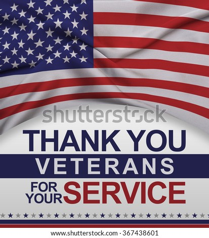 Thank you Veterans for your Service post card design - stock photo