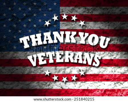 thank you veterans greeting card american flag grunge background - stock photo