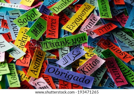 Thank You Word Cloud printed on colorful  paper different languages - stock photo