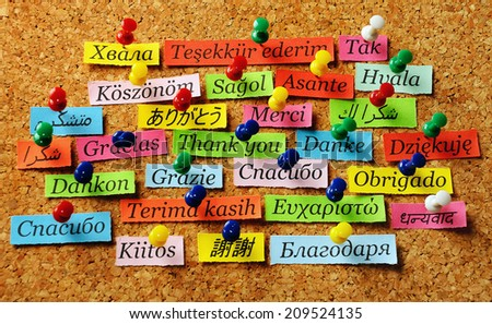 Thank You Word  on colorful paper different languages pinned on cork board - stock photo