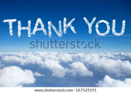 thank you word on sky over clouds. - stock photo