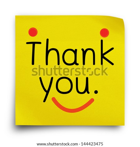 Thank you word on yellow sticker paper note on white background - stock photo