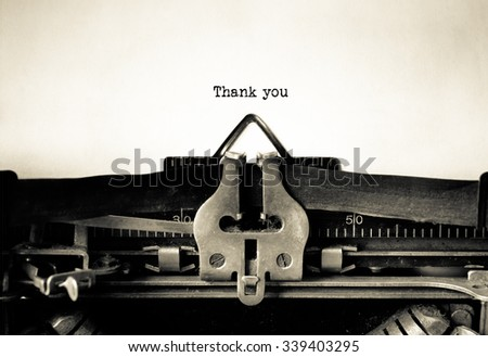 Thank you word typed on a Vintage Typewriter.   - stock photo