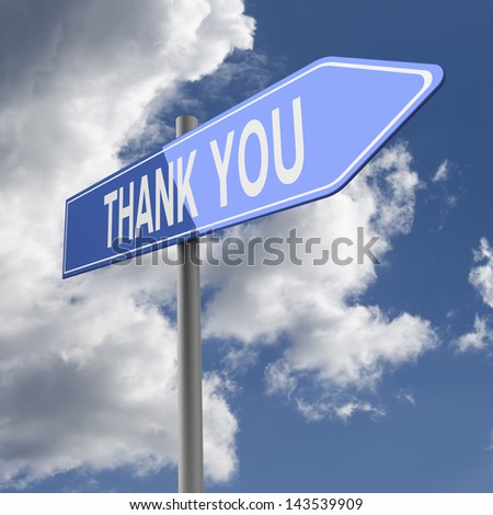 Thank you words on Blue Road Sign - stock photo