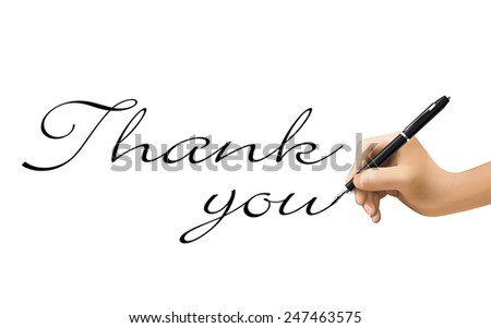 thank you words written by 3d hand over white  - stock photo