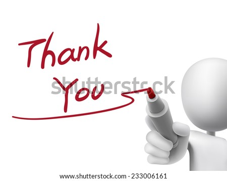 thank you words written by 3d man over transparent board - stock photo