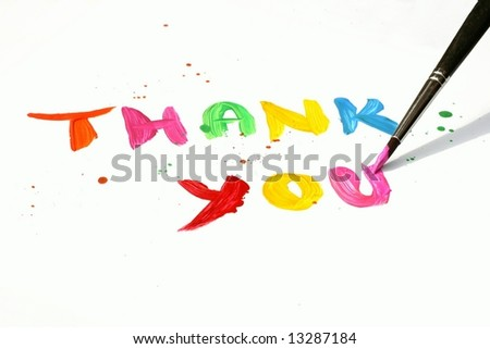 Thank You written in vibrant colors as painting with paintbrush on white background - stock photo