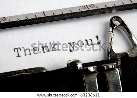 Thank you written on an old typewriter - stock photo