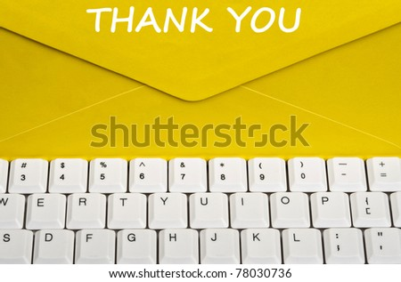 Thank youmessage on envelope - stock photo