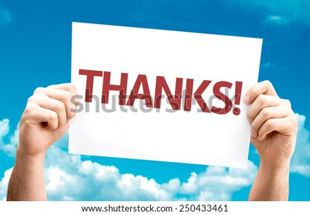 Thanks! card with sky background - stock photo