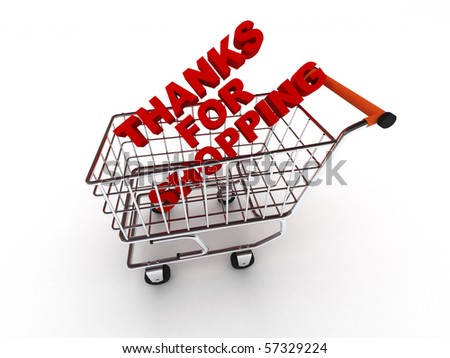 Thanks for shopping. Words in shopping cart isolated on white background. High quality 3d render. - stock photo