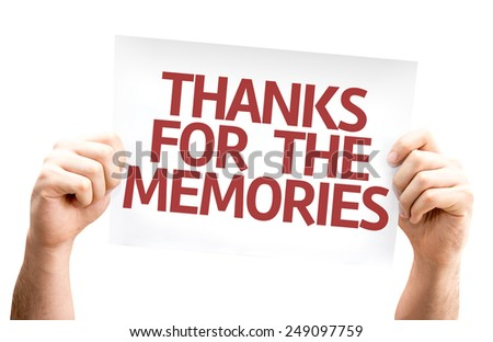 Thanks for the Memories card isolated on white background - stock photo