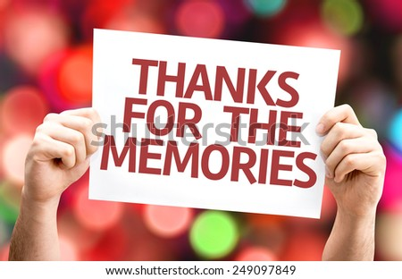 Thanks for the Memories card with colorful background with defocused lights - stock photo