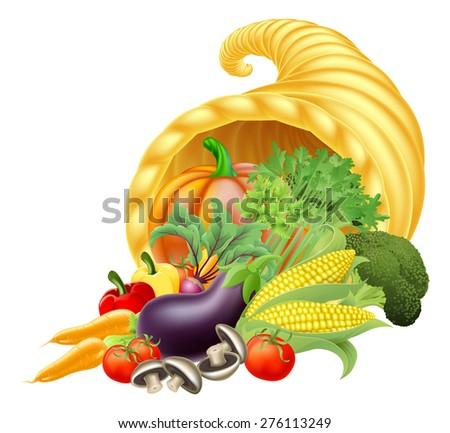 Thanks giving or harvest festival Cornucopia golden horn of plenty or abundance full of vegetables and fruit produce - stock photo