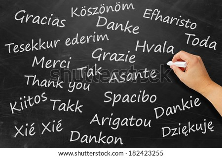 Thanks on chalk board in various languages